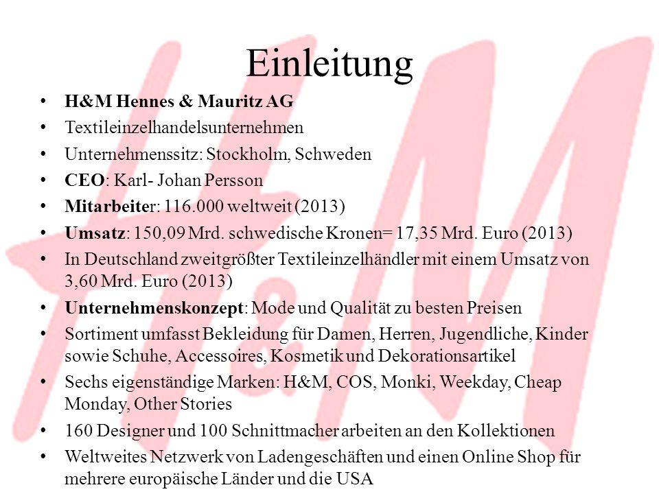 Einleitung H&M Hennes & Mauritz AG Textileinzelhandelsunternehmen Unternehmenssitz: Stockholm, Schweden CEO: Karl- Johan Persson Mitarbeiter: 116.000