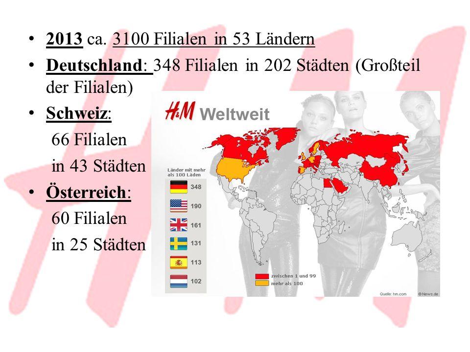 2013 ca. 3100 Filialen in 53 Ländern Deutschland: 348 Filialen in 202 Städten (Großteil der Filialen) Schweiz: 66 Filialen in 43 Städten Österreich: 6