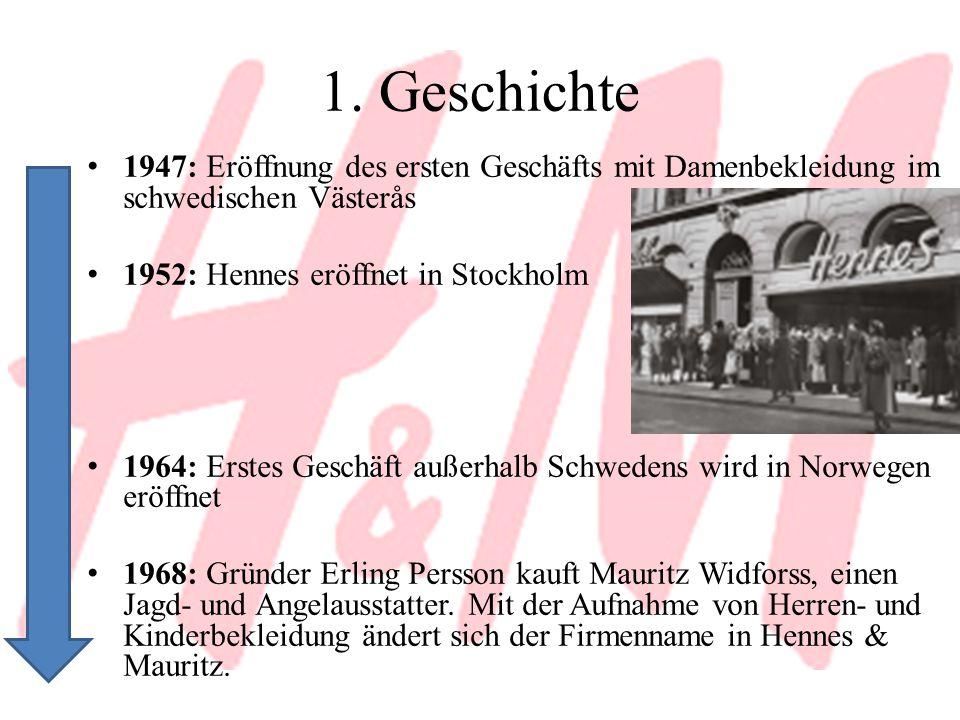 1. Geschichte 1947: Eröffnung des ersten Geschäfts mit Damenbekleidung im schwedischen Västerås 1952: Hennes eröffnet in Stockholm 1964: Erstes Geschä