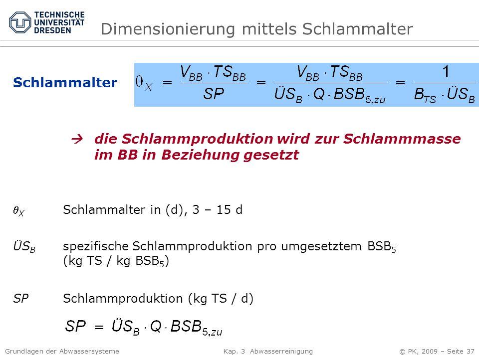 Grundlagen der Abwassersysteme Kap. 3 Abwasserreinigung © PK, 2009 – Seite 37 Schlammalter  X Schlammalter in (d), 3 – 15 d SP Schlammproduktion (kg