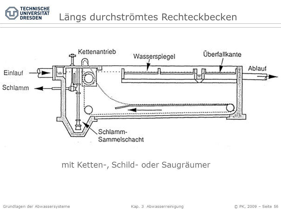 Grundlagen der Abwassersysteme Kap. 3 Abwasserreinigung © PK, 2009 – Seite 56 Längs durchströmtes Rechteckbecken mit Ketten-, Schild- oder Saugräumer