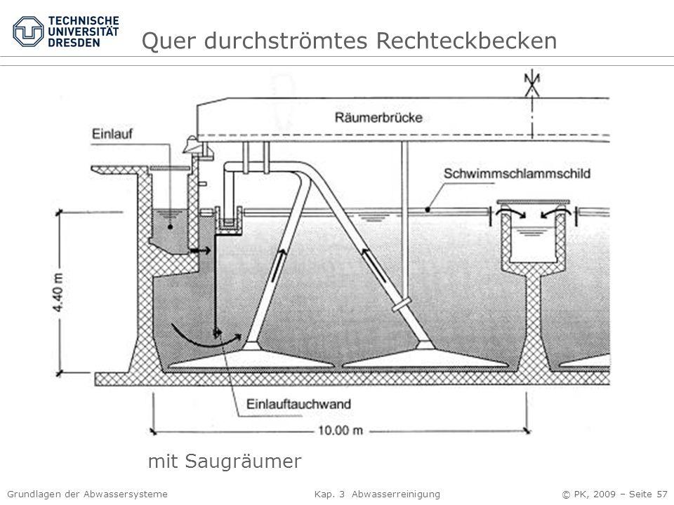 Grundlagen der Abwassersysteme Kap. 3 Abwasserreinigung © PK, 2009 – Seite 57 Quer durchströmtes Rechteckbecken mit Saugräumer
