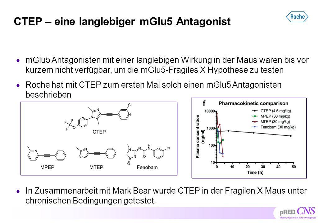 CTEP – eine langlebiger mGlu5 Antagonist  mGlu5 Antagonisten mit einer langlebigen Wirkung in der Maus waren bis vor kurzem nicht verfügbar, um die m