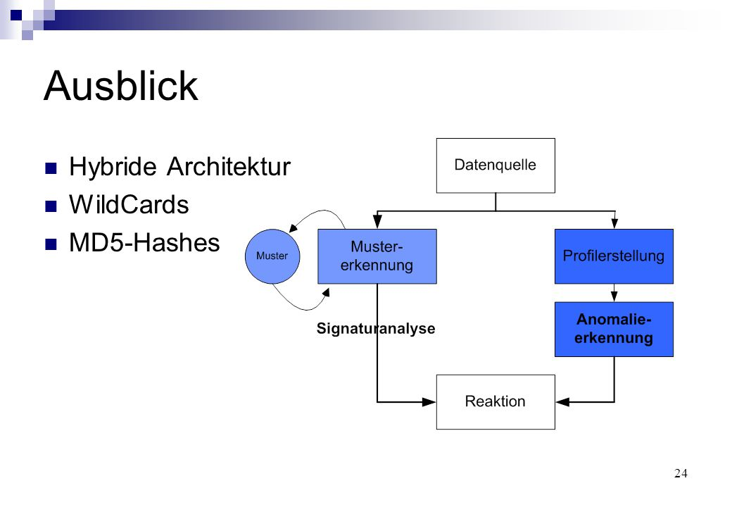 24 Ausblick Hybride Architektur WildCards MD5-Hashes