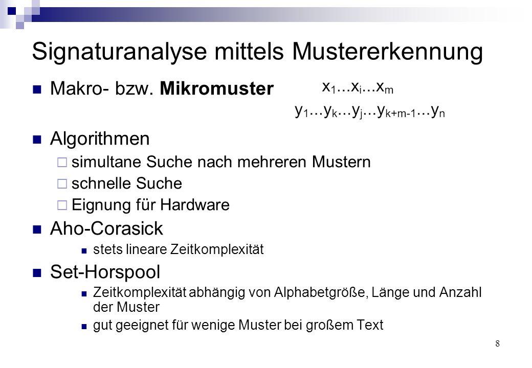 8 Signaturanalyse mittels Mustererkennung Makro- bzw. Mikromuster Algorithmen  simultane Suche nach mehreren Mustern  schnelle Suche  Eignung für H