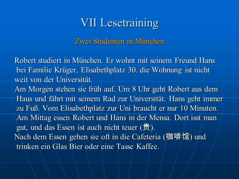 VII Lesetraining Zwei Studenten in München Robert studiert in München.