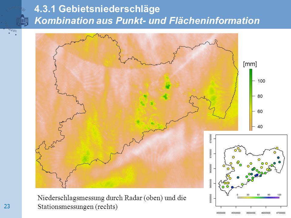 [mm] Niederschlagsmessung durch Radar (oben) und die Stationsmessungen (rechts) 4.3.1 Gebietsniederschläge Kombination aus Punkt- und Flächeninformati