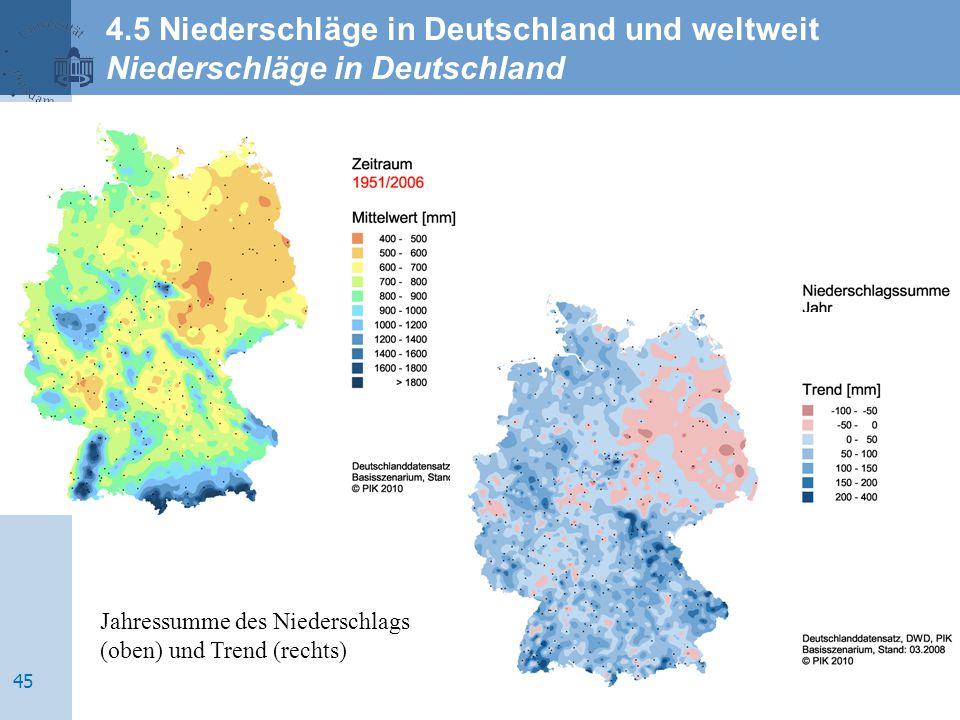 Jahressumme des Niederschlags (oben) und Trend (rechts) 4.5 Niederschläge in Deutschland und weltweit Niederschläge in Deutschland 45