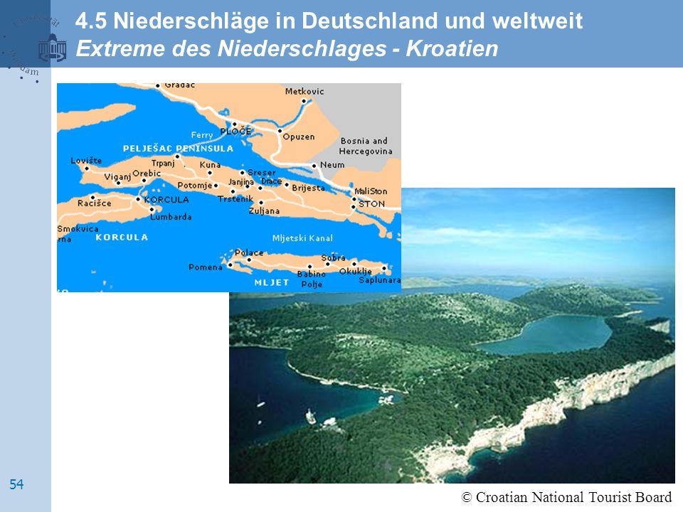 © Croatian National Tourist Board 4.5 Niederschläge in Deutschland und weltweit Extreme des Niederschlages - Kroatien 54
