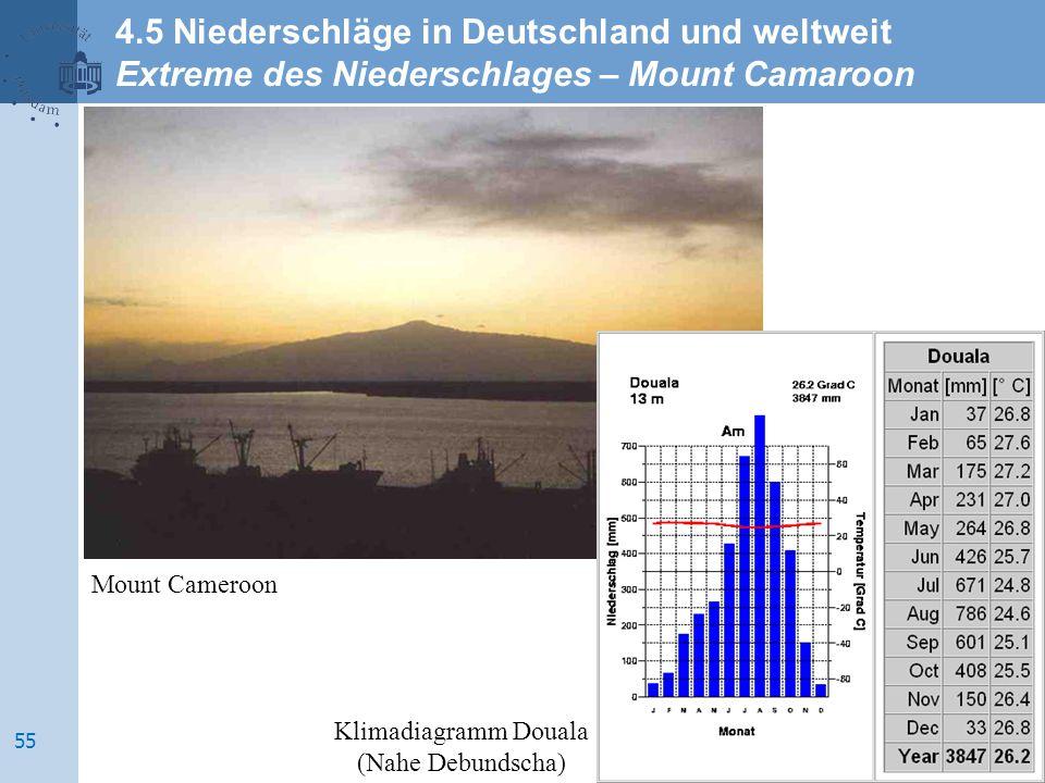 Mount Cameroon Klimadiagramm Douala (Nahe Debundscha) 4.5 Niederschläge in Deutschland und weltweit Extreme des Niederschlages – Mount Camaroon 55