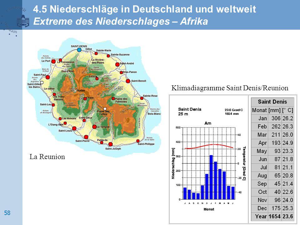 La Reunion Klimadiagramme Saint Denis/Reunion 4.5 Niederschläge in Deutschland und weltweit Extreme des Niederschlages – Afrika 58
