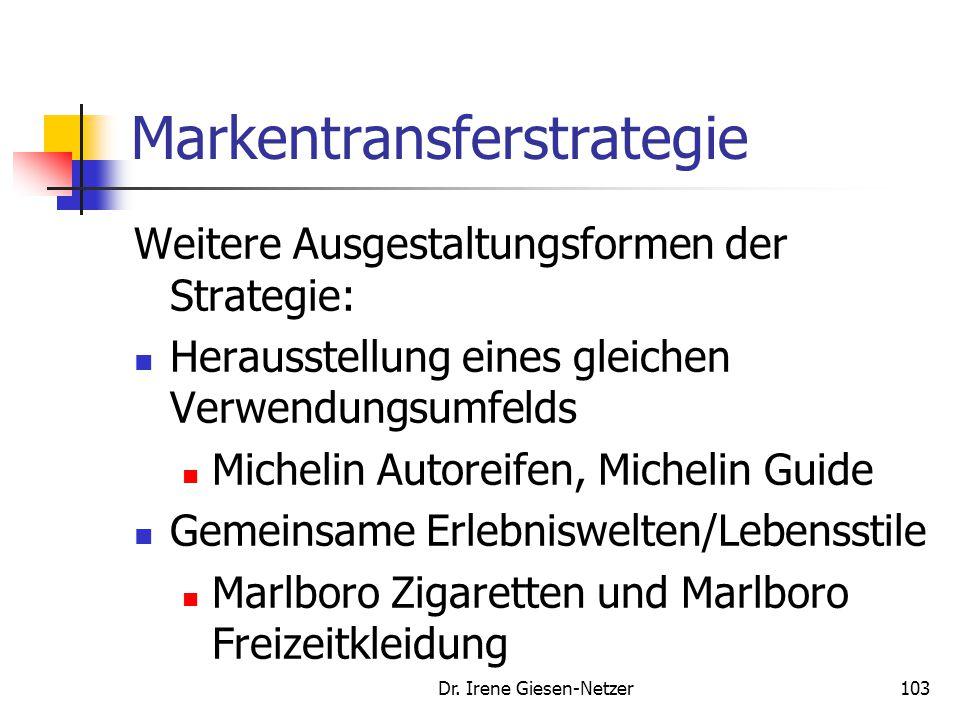 Dr. Irene Giesen-Netzer103 Markentransferstrategie Weitere Ausgestaltungsformen der Strategie: Herausstellung eines gleichen Verwendungsumfelds Michel