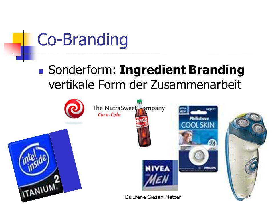Dr. Irene Giesen-Netzer109 Co-Branding Sonderform: Ingredient Branding vertikale Form der Zusammenarbeit