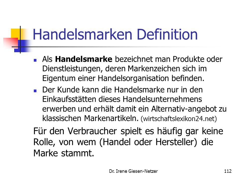 Dr. Irene Giesen-Netzer112 Handelsmarken Definition Als Handelsmarke bezeichnet man Produkte oder Dienstleistungen, deren Markenzeichen sich im Eigent