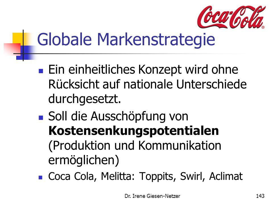 Dr. Irene Giesen-Netzer143 Globale Markenstrategie Ein einheitliches Konzept wird ohne Rücksicht auf nationale Unterschiede durchgesetzt. Soll die Aus
