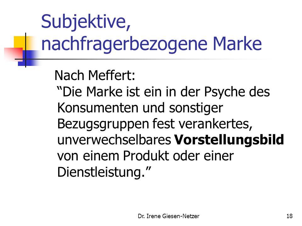 """Dr. Irene Giesen-Netzer18 Subjektive, nachfragerbezogene Marke Nach Meffert: """"Die Marke ist ein in der Psyche des Konsumenten und sonstiger Bezugsgrup"""