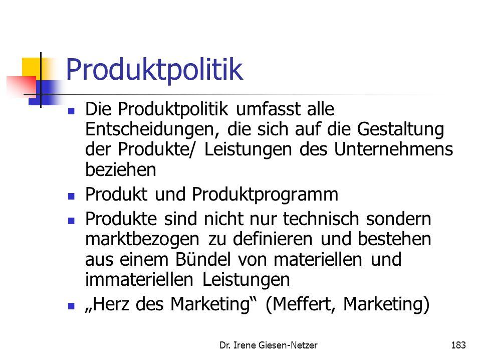 Dr. Irene Giesen-Netzer183 Produktpolitik Die Produktpolitik umfasst alle Entscheidungen, die sich auf die Gestaltung der Produkte/ Leistungen des Unt