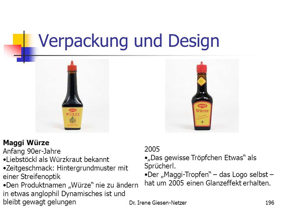 Dr. Irene Giesen-Netzer196 Verpackung und Design Maggi Würze Anfang 90er-Jahre Liebstöckl als Würzkraut bekannt Zeitgeschmack: Hintergrundmuster mit e