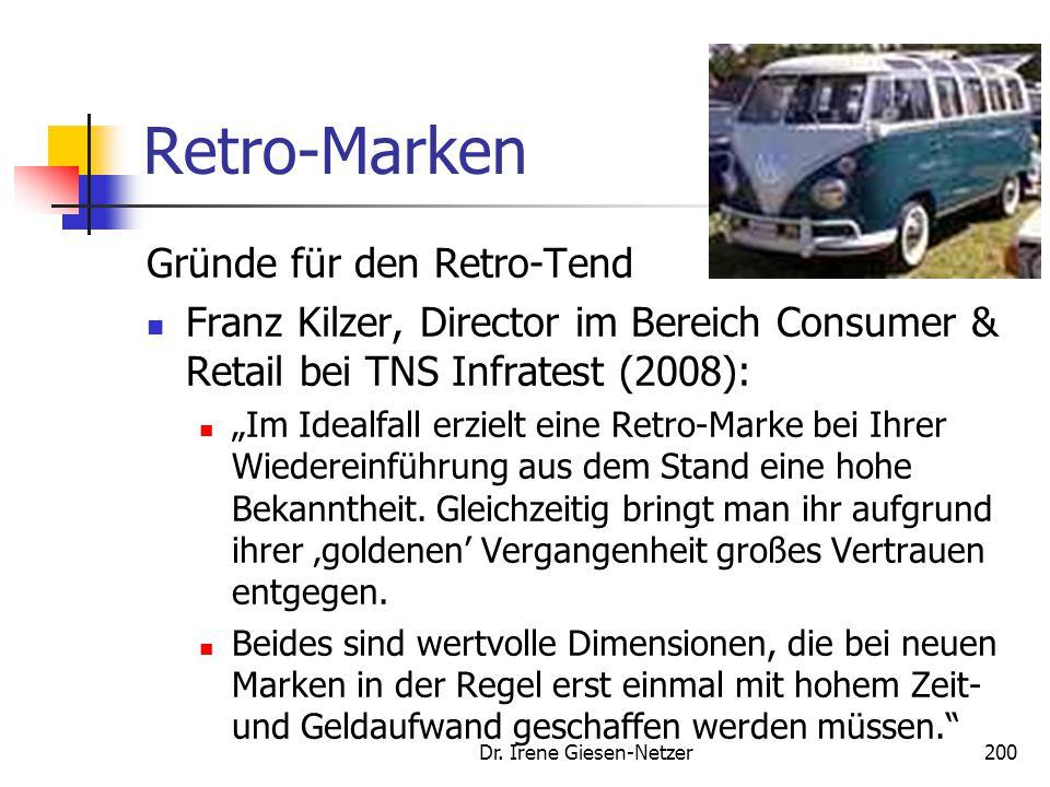 """Dr. Irene Giesen-Netzer200 Retro-Marken Gründe für den Retro-Tend Franz Kilzer, Director im Bereich Consumer & Retail bei TNS Infratest (2008): """"Im Id"""