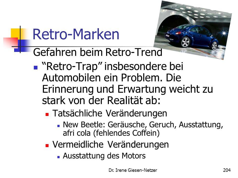 """Dr. Irene Giesen-Netzer204 Retro-Marken Gefahren beim Retro-Trend """"Retro-Trap"""" insbesondere bei Automobilen ein Problem. Die Erinnerung und Erwartung"""