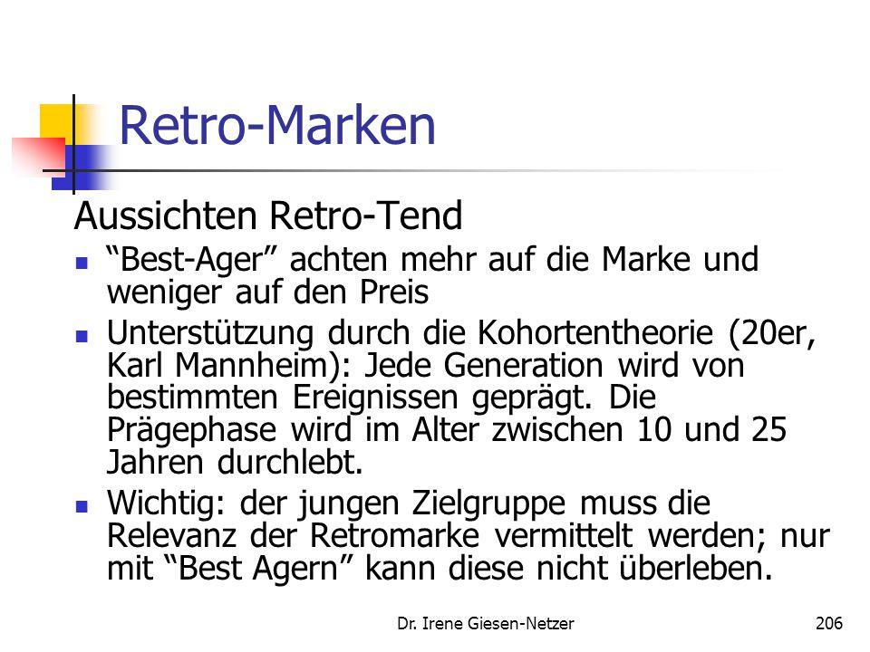 """Dr. Irene Giesen-Netzer206 Retro-Marken Aussichten Retro-Tend """"Best-Ager"""" achten mehr auf die Marke und weniger auf den Preis Unterstützung durch die"""