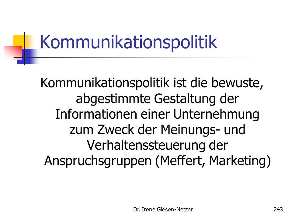 Dr. Irene Giesen-Netzer243 Kommunikationspolitik Kommunikationspolitik ist die bewuste, abgestimmte Gestaltung der Informationen einer Unternehmung zu