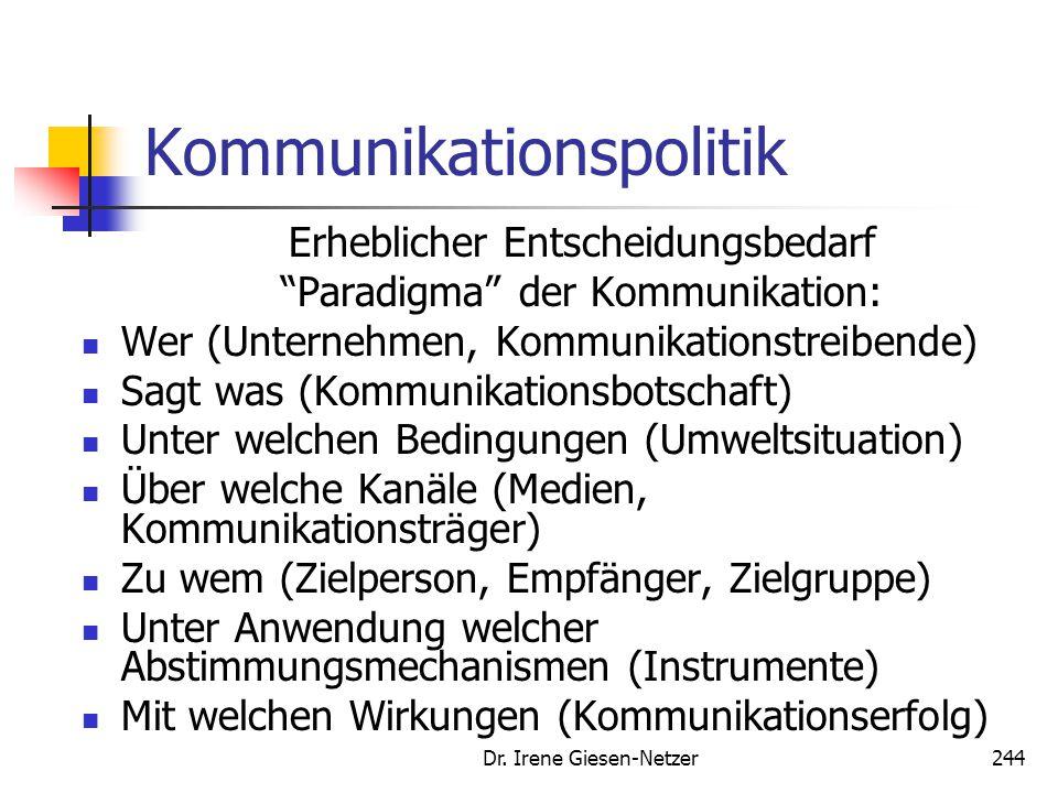 """Dr. Irene Giesen-Netzer244 Kommunikationspolitik Erheblicher Entscheidungsbedarf """"Paradigma"""" der Kommunikation: Wer (Unternehmen, Kommunikationstreibe"""