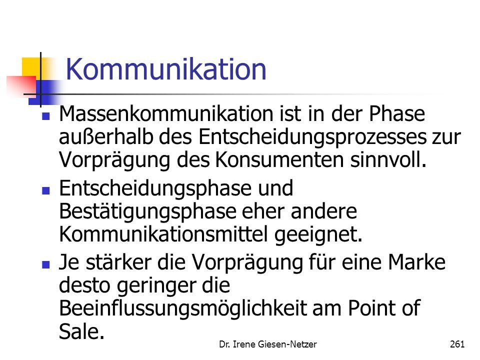 Dr. Irene Giesen-Netzer261 Kommunikation Massenkommunikation ist in der Phase außerhalb des Entscheidungsprozesses zur Vorprägung des Konsumenten sinn