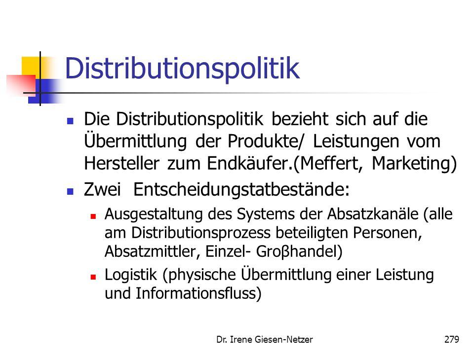 Dr. Irene Giesen-Netzer279 Distributionspolitik Die Distributionspolitik bezieht sich auf die Übermittlung der Produkte/ Leistungen vom Hersteller zum