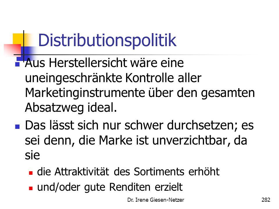 Dr. Irene Giesen-Netzer282 Distributionspolitik Aus Herstellersicht wäre eine uneingeschränkte Kontrolle aller Marketinginstrumente über den gesamten