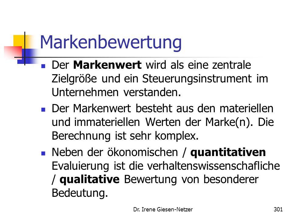 Dr. Irene Giesen-Netzer301 Markenbewertung Der Markenwert wird als eine zentrale Zielgröße und ein Steuerungsinstrument im Unternehmen verstanden. Der