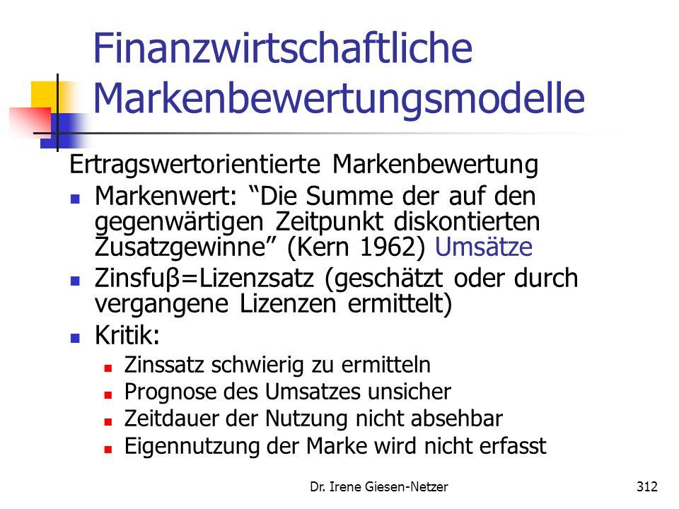 """Dr. Irene Giesen-Netzer312 Finanzwirtschaftliche Markenbewertungsmodelle Ertragswertorientierte Markenbewertung Markenwert: """"Die Summe der auf den geg"""