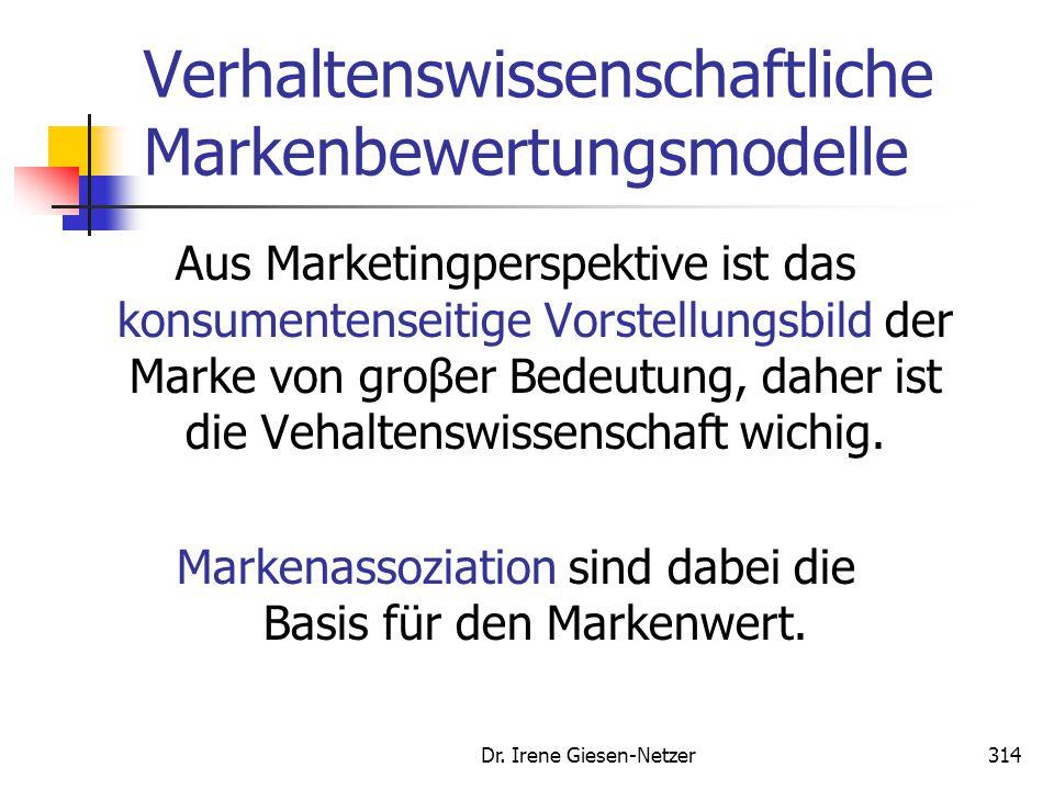 Dr. Irene Giesen-Netzer314 Verhaltenswissenschaftliche Markenbewertungsmodelle Aus Marketingperspektive ist das konsumentenseitige Vorstellungsbild de
