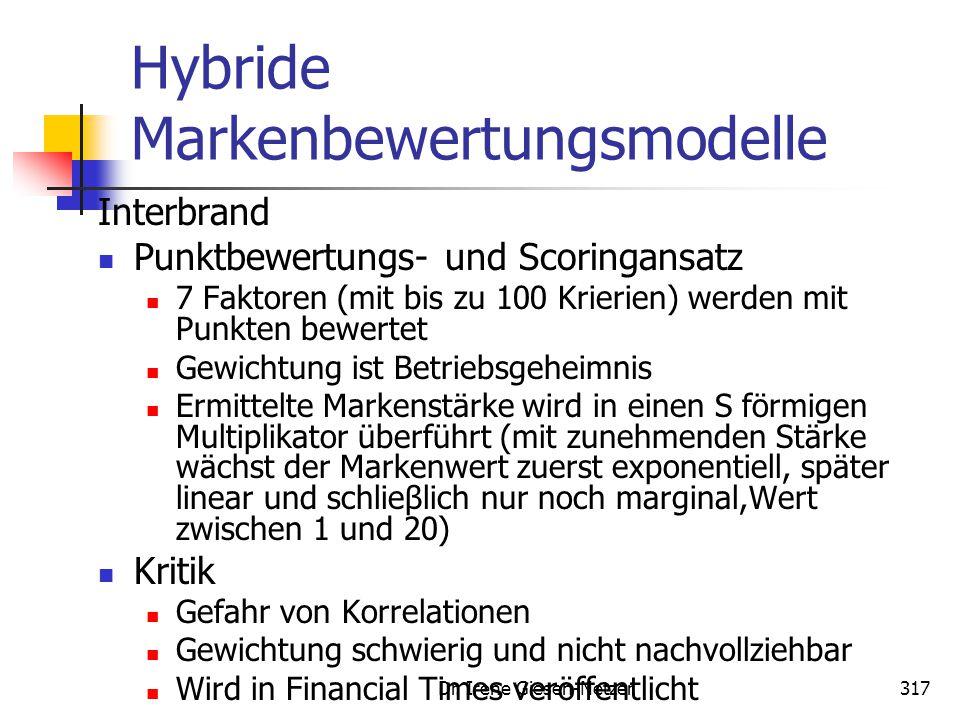 Dr. Irene Giesen-Netzer317 Hybride Markenbewertungsmodelle Interbrand Punktbewertungs- und Scoringansatz 7 Faktoren (mit bis zu 100 Krierien) werden m