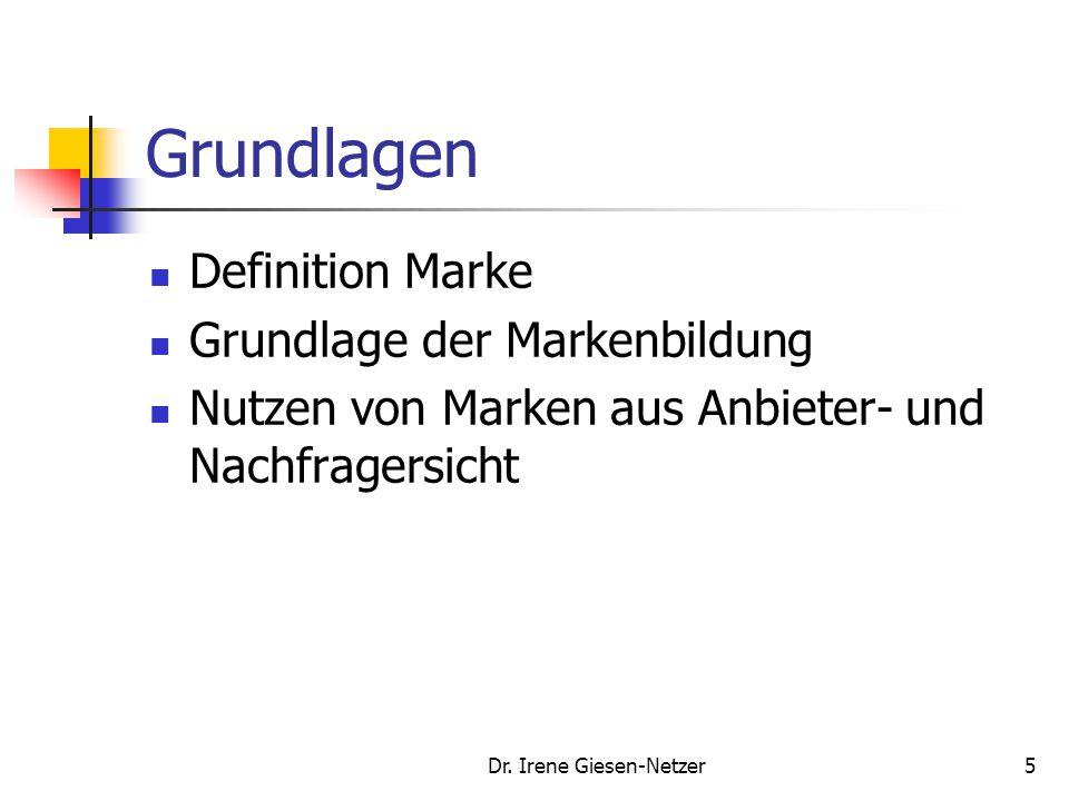 Dr. Irene Giesen-Netzer5 Grundlagen Definition Marke Grundlage der Markenbildung Nutzen von Marken aus Anbieter- und Nachfragersicht