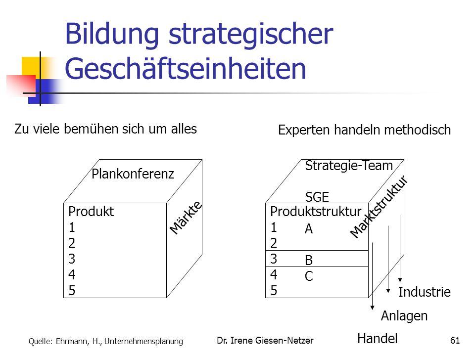 Dr. Irene Giesen-Netzer61 Bildung strategischer Geschäftseinheiten Produkt 1 2 3 4 5 Plankonferenz Märkte Produktstruktur 1 2 3 4 5 Strategie-Team SGE