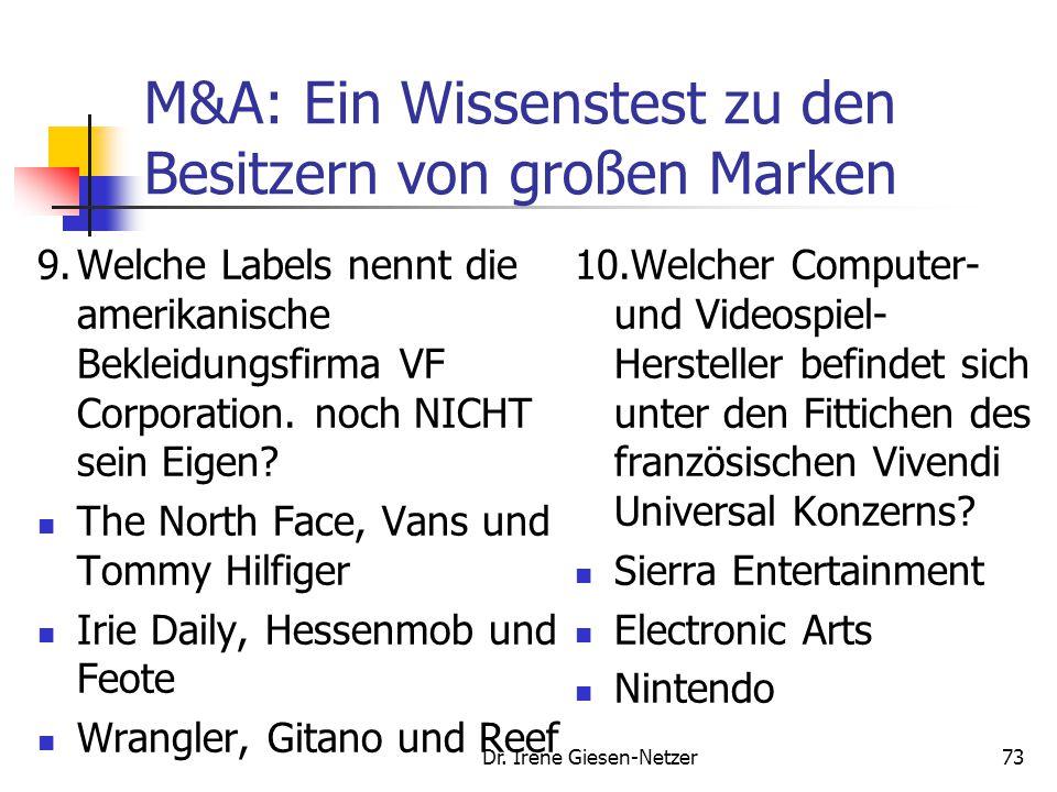 Dr. Irene Giesen-Netzer73 M&A: Ein Wissenstest zu den Besitzern von großen Marken 9.Welche Labels nennt die amerikanische Bekleidungsfirma VF Corporat