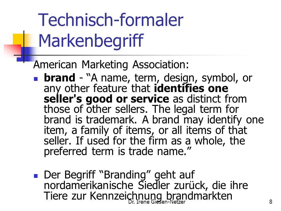 "Dr. Irene Giesen-Netzer8 Technisch-formaler Markenbegriff American Marketing Association: brand - ""A name, term, design, symbol, or any other feature"