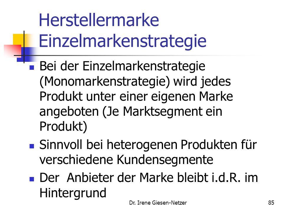 Dr. Irene Giesen-Netzer85 Herstellermarke Einzelmarkenstrategie Bei der Einzelmarkenstrategie (Monomarkenstrategie) wird jedes Produkt unter einer eig