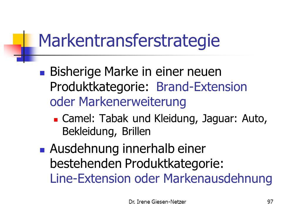 Dr. Irene Giesen-Netzer97 Markentransferstrategie Bisherige Marke in einer neuen Produktkategorie: Brand-Extension oder Markenerweiterung Camel: Tabak