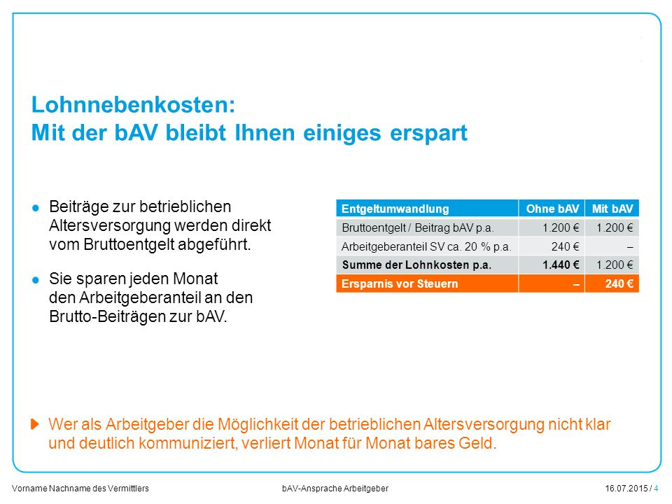 16.07.2015 / 4 Vorname Nachname des Vermittlers bAV-Ansprache Arbeitgeber EntgeltumwandlungOhne bAVMit bAV Bruttoentgelt / Beitrag bAV p.a.1.200 € Arb