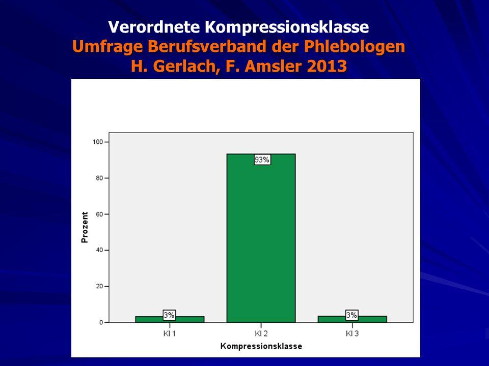 Verordnete Kompressionsklasse Umfrage Berufsverband der Phlebologen H. Gerlach, F. Amsler 2013