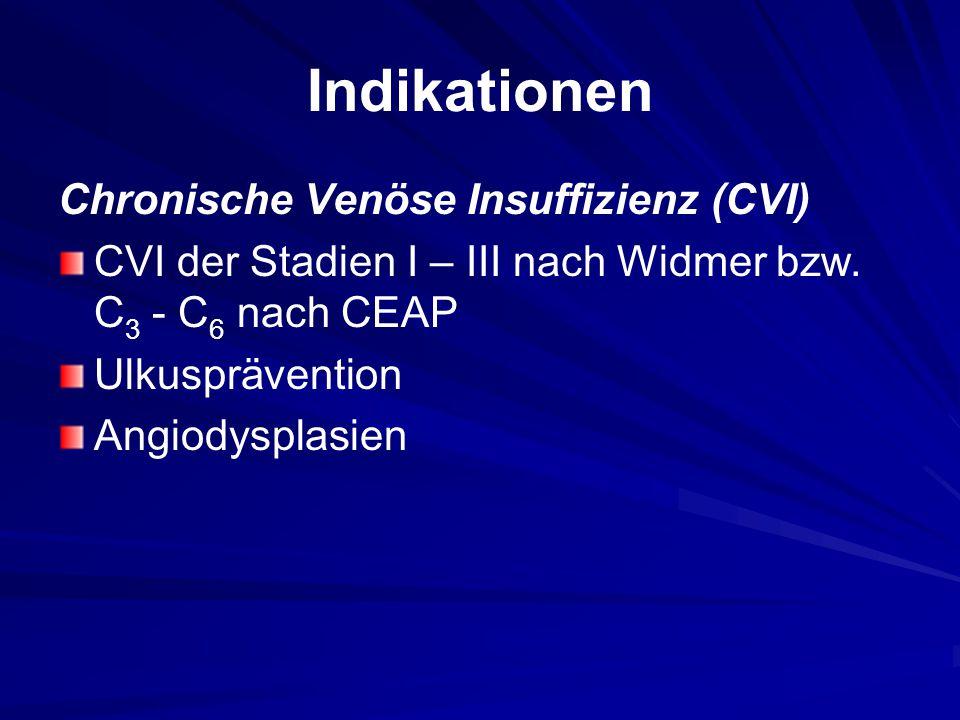 Indikationen Chronische Venöse Insuffizienz (CVI) CVI der Stadien I – III nach Widmer bzw.