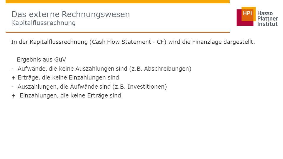 In der Kapitalflussrechnung (Cash Flow Statement - CF) wird die Finanzlage dargestellt.