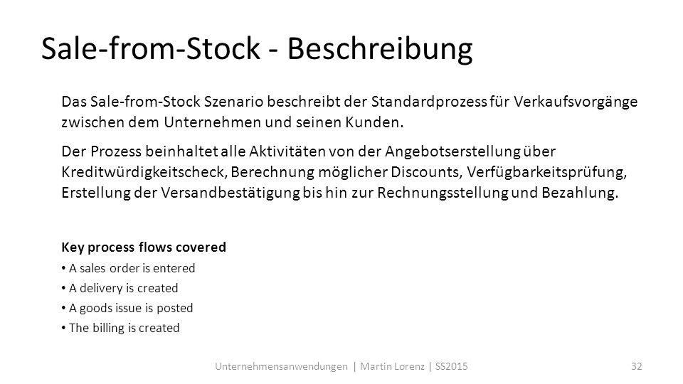 Das Sale-from-Stock Szenario beschreibt der Standardprozess für Verkaufsvorgänge zwischen dem Unternehmen und seinen Kunden.