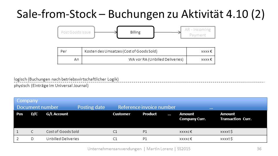 Unternehmensanwendungen | Martin Lorenz | SS201536 Sale-from-Stock – Buchungen zu Aktivität 4.10 (2) Post Goods IssueBilling logisch (Buchungen nach betriebswirtschaftlicher Logik) physisch (Einträge im Universal Journal) PerKosten des Umsatzes (Cost of Goods Sold)xxxx € AnWA vor RA (Unbilled Deliveries)xxxx € AR - Incoming Payment PosD/CG/L AccountCustomerProduct...Amount Company Curr.