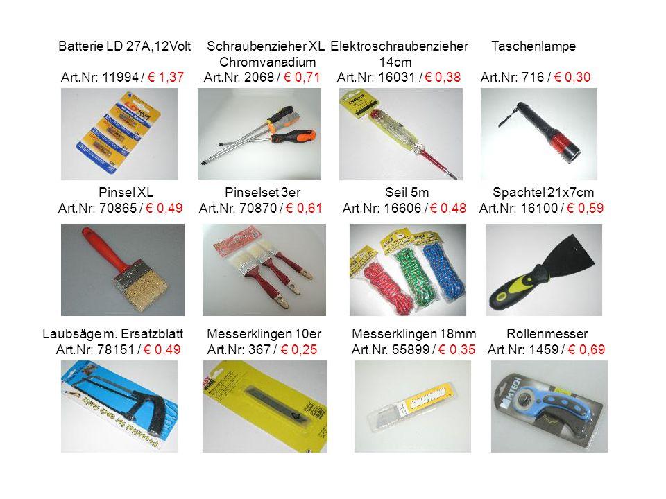 Batterie LD 27A,12Volt Schraubenzieher XL Elektroschraubenzieher Taschenlampe Chromvanadium 14cm Art.Nr: 11994 / € 1,37 Art.Nr.