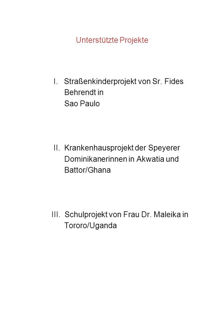 I.30 JAHRE PATENSCHAFT für die STRASSENKINDERPROJEKTE von Sr.
