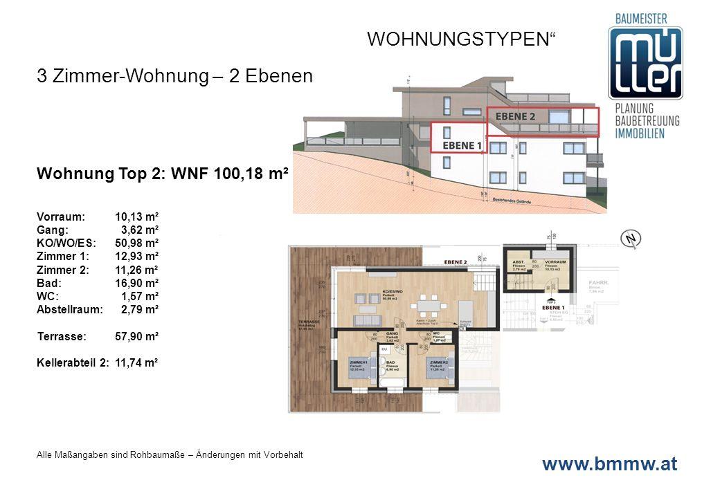 www.bmmw.at Wohnung Top 3: WNF 110,13 m² Vorraum: 6,44 m² Gang: 3,37 m² KO/WO/ES:42,04 m² Zimmer 1:12,81 m² Zimmer 2: 11,22 m² Zimmer 3:17,86 m² Bad:10,50 m² WC: 1,82 m² Abstellraum: 3,06 m² Terrasse:23,49 m² Kellerabteil 2:11,74 m² WOHNUNGSTYPEN 4 Zimmer-Wohnung – ERDGESCHOSS Alle Maßangaben sind Rohbaumaße – Änderungen mit Vorbehalt