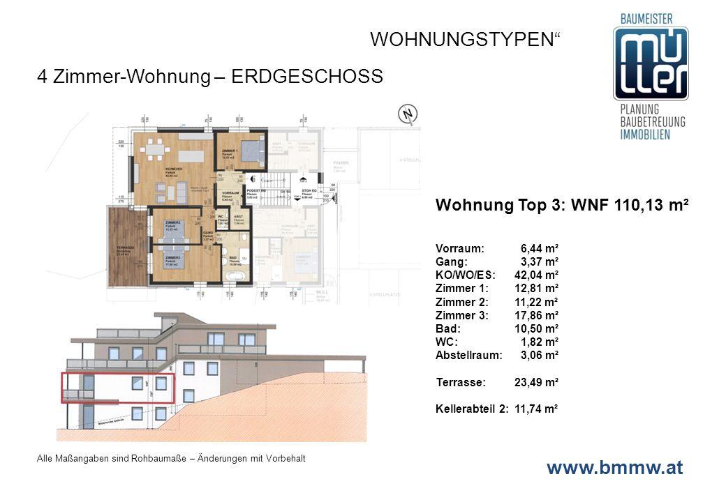 www.bmmw.at Wohnung Top 4: WNF 110,16 m² Vorraum: 6,44 m² KO/WO/ES:42,04 m² Zimmer 1:12,81 m² Zimmer 2: 11,22 m² Zimmer 3:17,86 m² Bad/WC 1:10,50 m² Bad/WC 2: 3,06 m² Abstellraum: 1,82 m² Terrasse:27,29 m² Kellerabteil 2:11,56 m² Gartenanteil:ca.